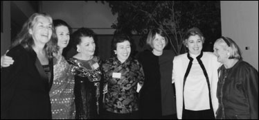 Left to Right: Karen de Crow, former president; Muriel Fox, founder; Aileen Hernandez, former president; Judith Lightfoot, former chair of the National Board; Patricia Ireland, former president; Ellie Smeal, former president; Molly Yard, former president